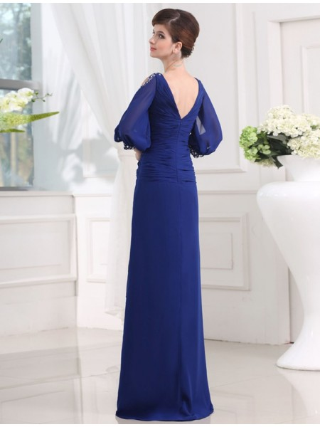 Sheath/Column Beading V-neck Floor-Length 3/4 Sleeves Chiffon Dresses