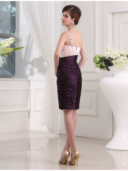 Sheath/Column Beading Applique Straps Knee-Length Sleeveless Elastic Woven Satin Bridesmaid Dresses