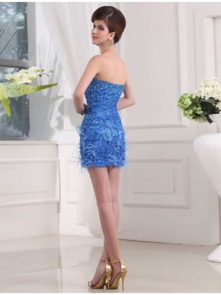 Sheath/Column Beading Sweetheart Short/Mini Sleeveless Organza Feather Bridesmaid Dresses