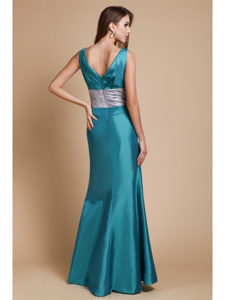 Sheath/Column Sash/Ribbon/Belt V-neck Floor-Length Sleeveless Taffeta Bridesmaid Dresses