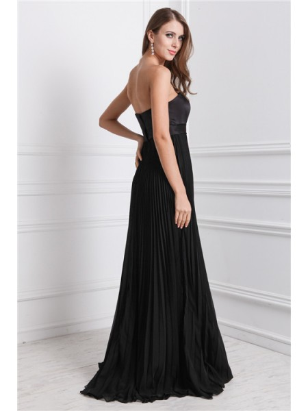 A-Line/Princess Ruffles Strapless Floor-Length Sleeveless Chiffon Bridesmaid Dresses