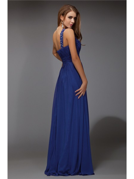 Sheath/Column Beading One-Shoulder Floor-Length Sleeveless Chiffon Dresses