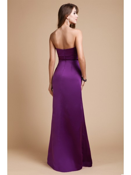 Sheath/Column Bowknot Sweetheart Floor-Length Sleeveless Elastic Woven Satin Bridesmaid Dresses