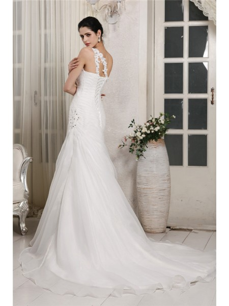 Trumpet/Mermaid Beading Applique One-Shoulder Chapel Train Sleeveless Organza Wedding Dresses