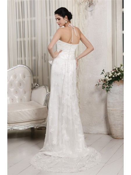 Sheath/Column Applique Lace V-neck Sweep/Brush Train Sleeveless Net Lace Wedding Dresses
