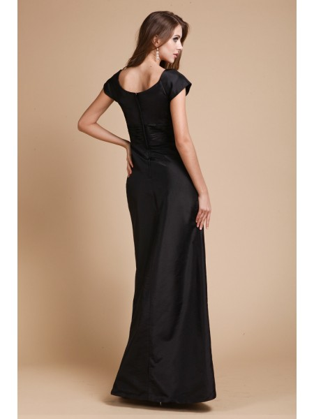 Sheath/Column Ruffles V-neck Floor-Length Short Sleeves Taffeta Dresses