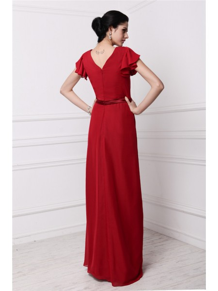 Sheath/Column Pleats V-neck Floor-Length Short Sleeves Chiffon Bridesmaid Dresses