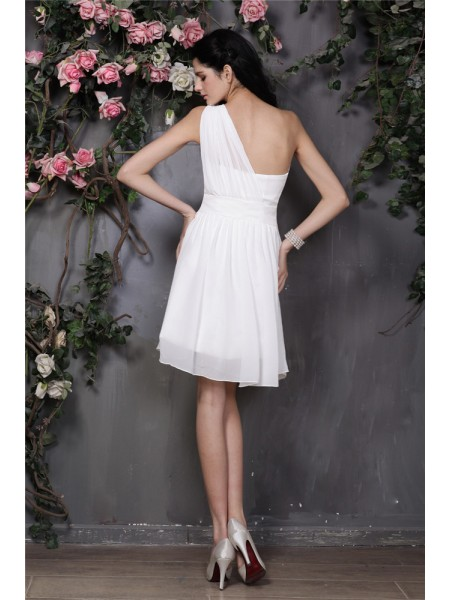 A-Line/Princess Pleats One-Shoulder Short/Mini Sleeveless Chiffon Bridesmaid Dresses