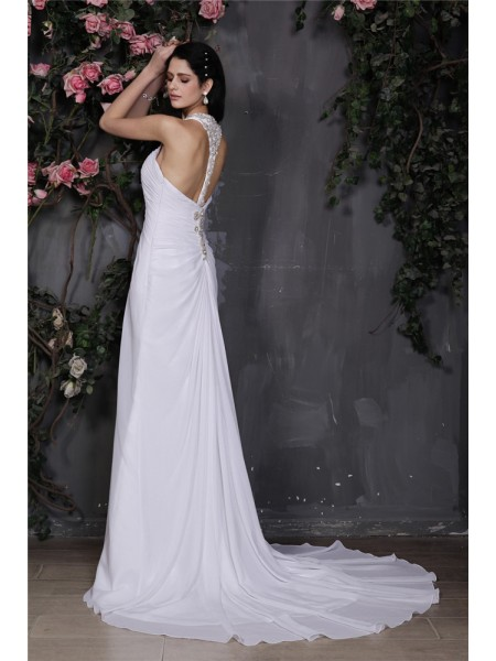 Sheath/Column Ruffles Beading Halter Court Train Sleeveless Chiffon Wedding Dresses
