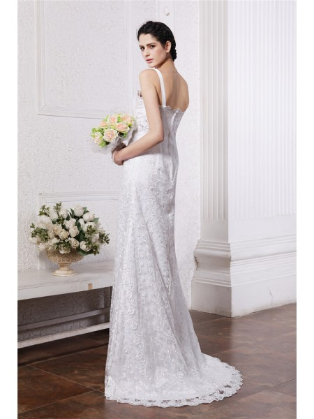 Sheath/Column Ruffles Ruched Square Sweep/Brush Train Sleeveless Chiffon Net Wedding Dresses