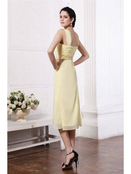 Sheath/Column Pleats Sash/Ribbon/Belt Straps Knee-Length Sleeveless Chiffon Bridesmaid Dresses