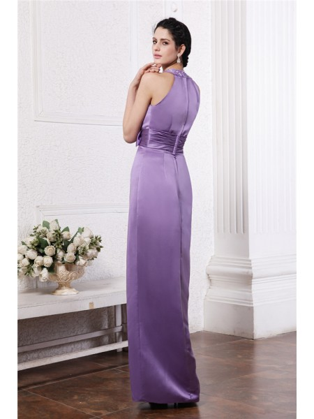 Sheath/Column Beading Bowknot Scoop Floor-Length Sleeveless Elastic Woven Satin Bridesmaid Dresses