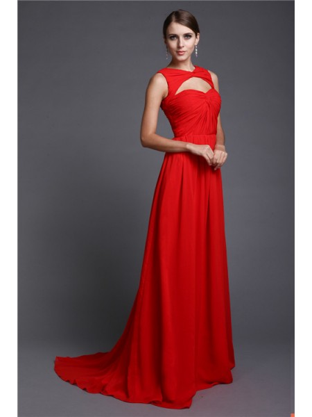 A-Line/Princess Ruffles High Neck Sweep/Brush Train Sleeveless Chiffon Dresses