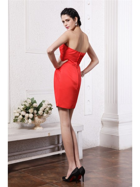 Sheath/Column Pleats Strapless Short/Mini Sleeveless Elastic Woven Satin Bridesmaid Dresses