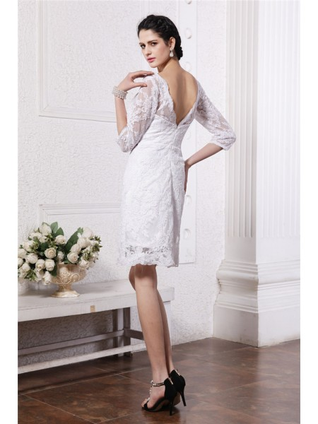 Sheath/Column Lace Bateau Short/Mini 1/2 Sleeves Lace Wedding Dresses