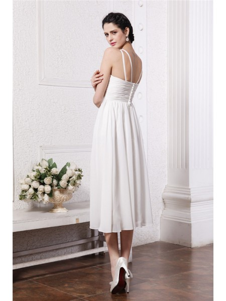 Sheath/Column Beading Applique V-neck Tea-Length Sleeveless Chiffon Bridesmaid Dresses