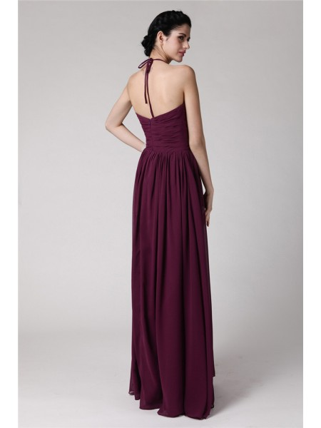 Sheath/Column Hand-Made Flower Halter Floor-Length Sleeveless Chiffon Bridesmaid Dresses