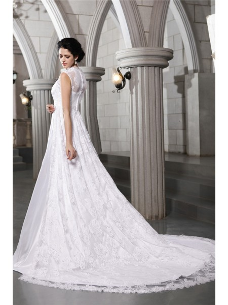 A-Line/Princess Lace Straps Cathedral Train Sleeveless Satin Wedding Dresses