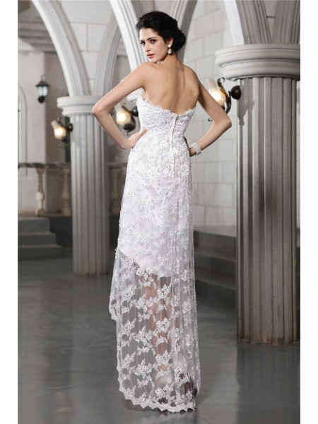Sheath/Column Beading Strapless Asymmetrical Sleeveless Lace Wedding Dresses