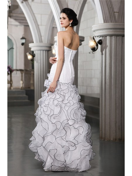 Sheath/Column Beading Strapless Floor-Length Sleeveless Organza Wedding Dresses