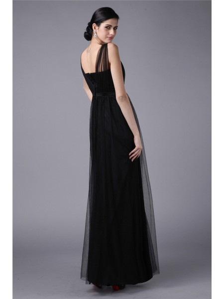 Sheath/Column Sash/Ribbon/Belt Straps Floor-Length Sleeveless Net Dresses