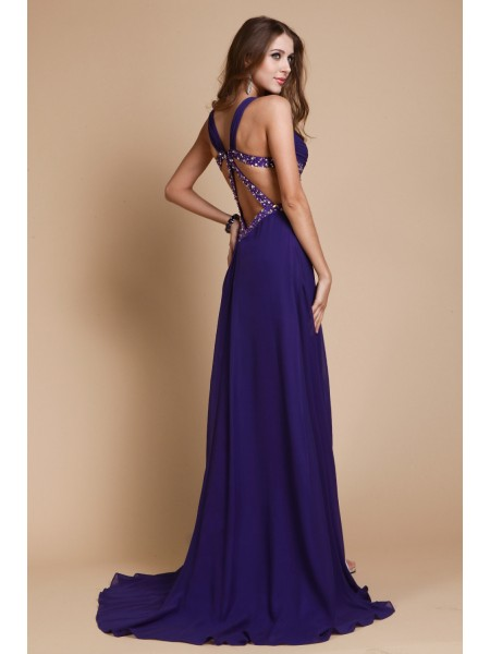A-Line/Princess Beading Straps Sweep/Brush Train Sleeveless Chiffon Dresses