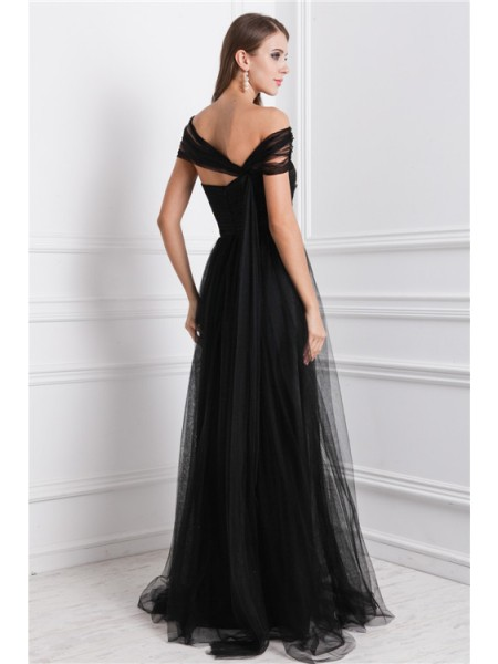 A-Line/Princess Ruffles Bateau Floor-Length Sleeveless Net Dresses