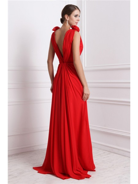 A-Line/Princess Hand-Made Flower V-neck Floor-Length Sleeveless Chiffon Dresses