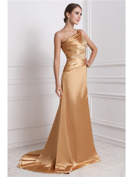 A-Line/Princess Beading One-Shoulder Sweep/Brush Train Sleeveless Elastic Woven Satin Dresses