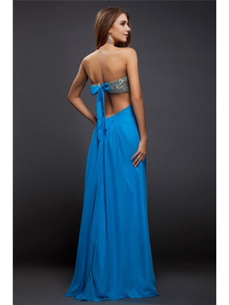 Sheath/Column Lace Sequin Strapless Floor-Length Sleeveless Chiffon Dresses