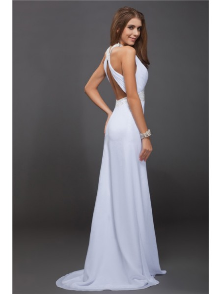 Sheath/Column Ruffles Beading Jewel Floor-Length Sleeveless Chiffon Dresses