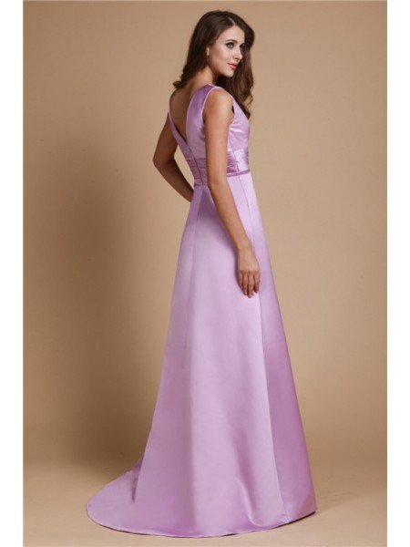 A-Line/Princess Ruched V-neck Floor-Length Sleeveless Elastic Woven Satin Bridesmaid Dresses
