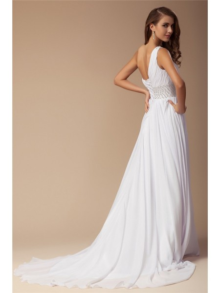 Sheath/Column Beading One-Shoulder Sweep/Brush Train Sleeveless Chiffon Dresses