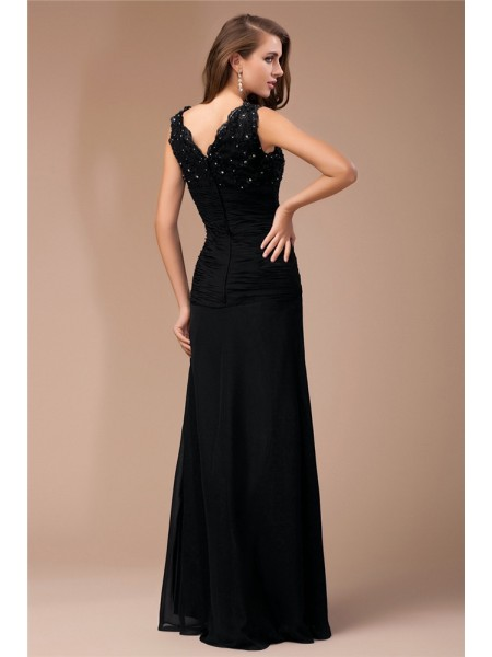 Sheath/Column Beading Lace V-neck Floor-Length Sleeveless Chiffon Dresses