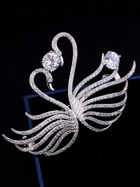 Luxurious Copper With Crystal Womens Brooch