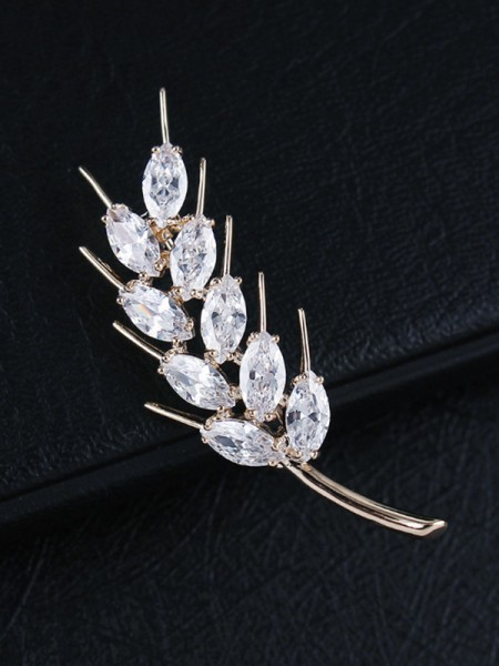 Fashion Copper With Crystal Womens Brooch