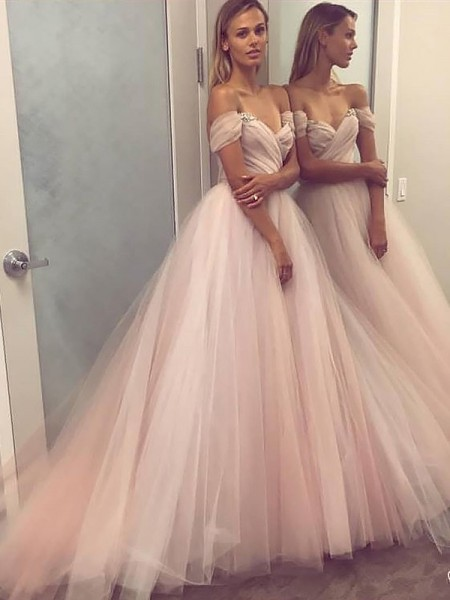 A-Line/Princess Tulle Beading Sweep/Brush Train Sleeveless Off-the-Shoulder Dresses