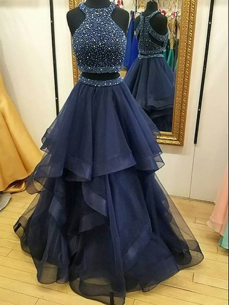 A-Line/Princess Tulle Beading Floor-Length Sleeveless Halter Dresses