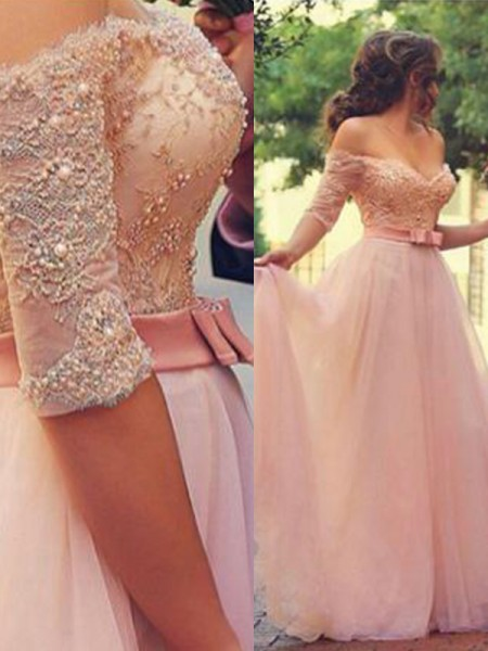 A-Line/Princess Tulle Lace Floor-Length 1/2 Sleeves Off-the-Shoulder Dresses