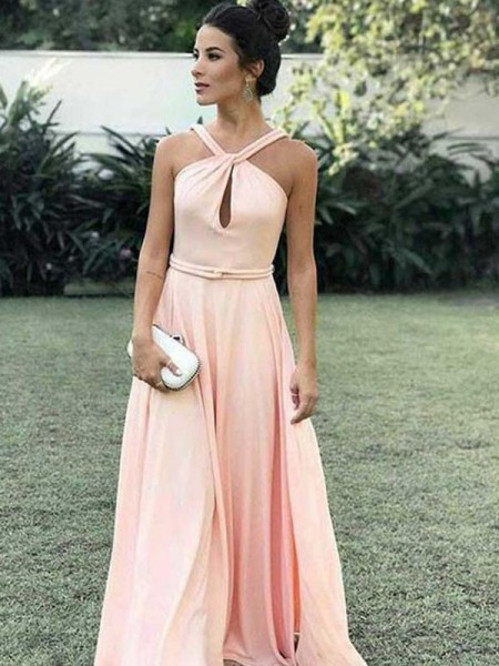 A-Line/Princess Chiffon Ruffles Floor-Length Sleeveless Halter Dresses