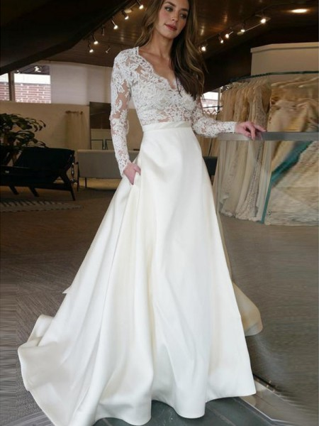 A-Line/Princess Applique V-neck Long Sleeves Sweep/Brush Train Satin Wedding Dresses