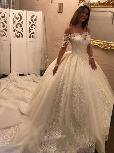 Ball Gown Off-the-Shoulder Cathedral Train Applique Tulle Long Sleeves Wedding Dresses