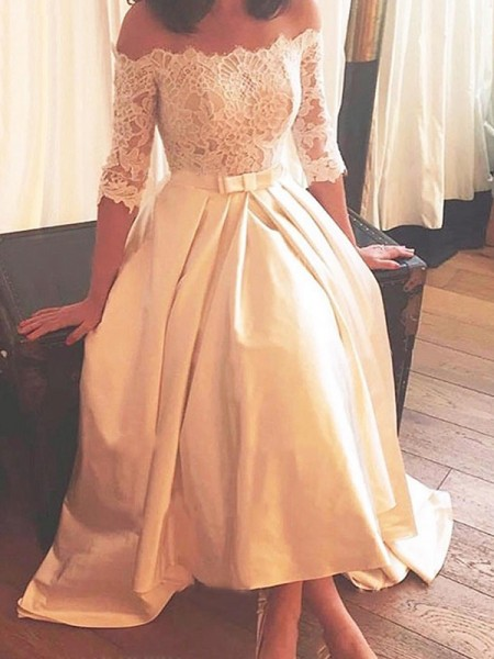 A-Line/Princess Asymmetrical Sweep/Brush Train 1/2 Sleeves Off-the-Shoulder Lace Satin Wedding Dresses