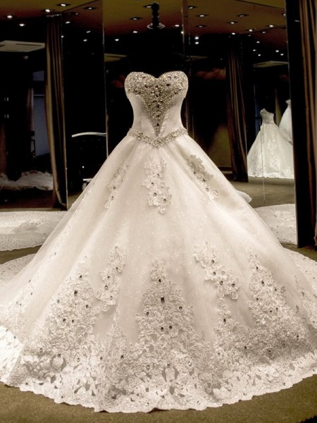 Ball Gown Sweetheart Cathedral Train Applique Sequin Tulle Sleeveless Wedding Dresses