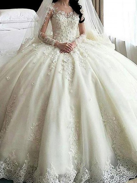 Ball Gown Scoop Cathedral Train Applique Tulle Long Sleeves Wedding Dresses With Lace