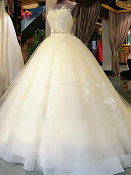 Ball Gown Scoop Applique Cathedral Train Sash/Ribbon/Belt Tulle Sleeveless Wedding Dresses