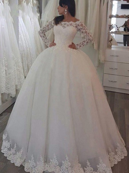 Ball Gown Long Sleeves Sweep/Brush Train Applique Lace Off-the-Shoulder Wedding Dresses
