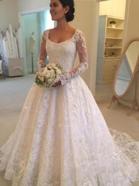 Ball Gown Scoop Cathedral Train Long Sleeves Ruffles Wedding Dresses With Lace