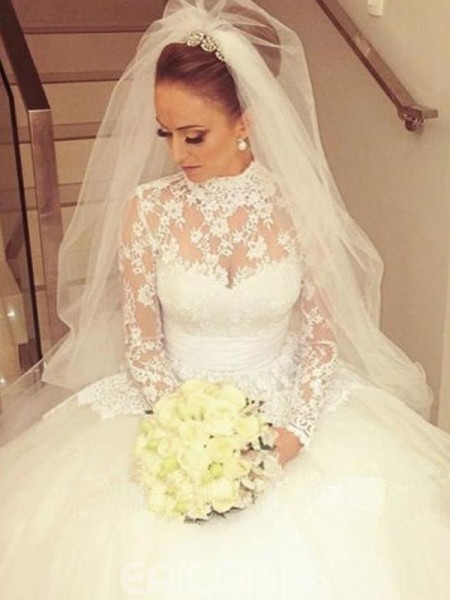 Ball Gown High Neck Sweep/Brush Train Sash/Ribbon/Belt Long Sleeves Lace Wedding Dresses