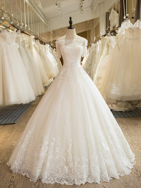 Ball Gown 1/2 Sleeves Floor-Length Applique Lace Tulle Off-the-Shoulder Wedding Dresses